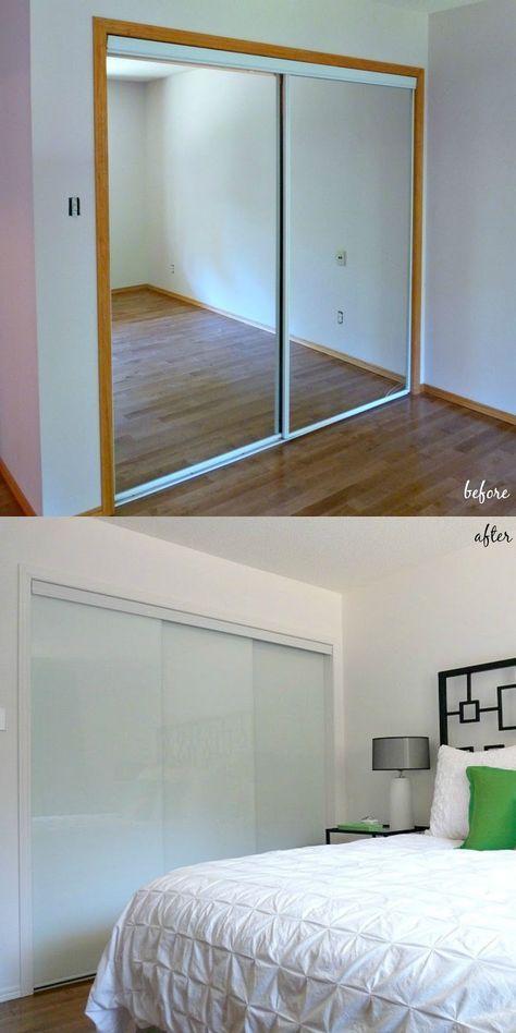 New White Glass Sliding Closet Doors in the Bedroom!   Closet door .