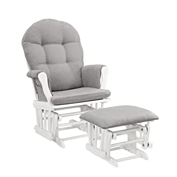 Amazon.com: Windsor Glider and Ottoman, White with Gray Cushion: Ba