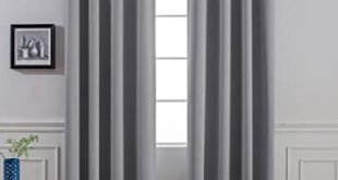 Amazon.com: Yakamok Room Darkening Gray Blackout Curtains Thermal .