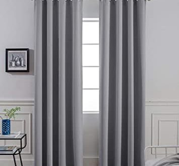 Amazon.com: Yakamok Room Darkening Gray Blackout Curtains Thermal .