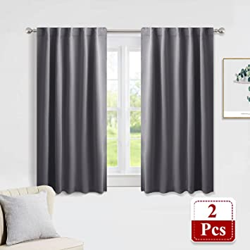 Amazon.com: PONY DANCE Gray Blackout Curtains - Window Curtain .
