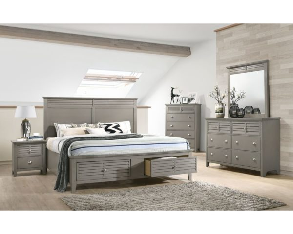 Jazz Gray Platform Storage Bedroom Set- Full | Nader's Furnitu