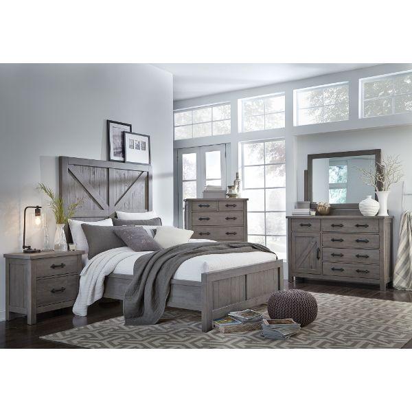 Gray Rustic Contemporary 4 Piece King Bedroom Set - Austin .