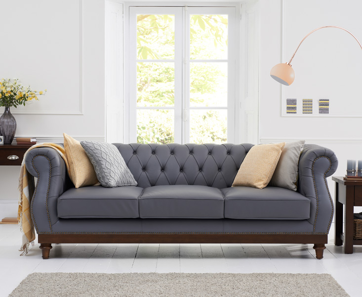 CasaLivin Harlyn Bay Grey Leather Chesterfield Sofa with Dark Ash .