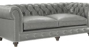 Chesterfield Rustic Grey Leather Sofa - Classic Tufted Grey .