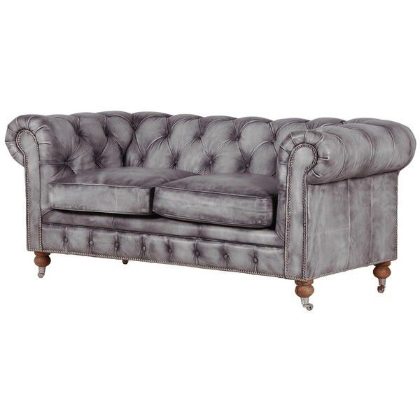 Bellagio Distressed Grey Leather Chesterfield Sofa ($2,110 .