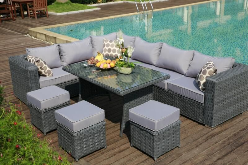 YAKOE® Papaver 9 Seater Grey Rattan Corner Sofa & Dining Set With .