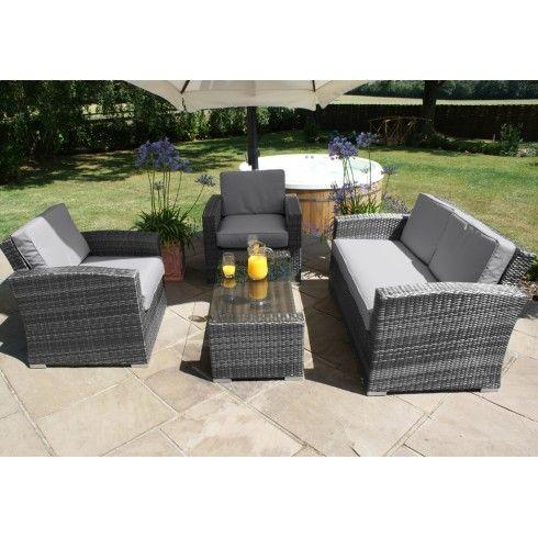 Maze Rattan Garden Furniture Kingston Grey 2 Seater Sofa Set .