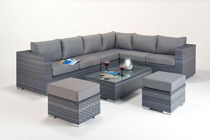 Port Royal Platinum Grey Large Corner Sofa Rattan Garden Furniture .
