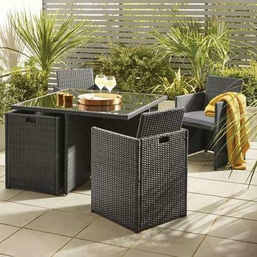 Nevada Grey Rattan 4 Seat Cube Set Garden Furniture Outdoor Table .