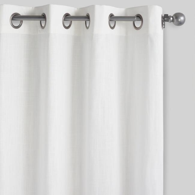 White Harlow Grommet Top Cotton Curtains Set of 2 | World Mark