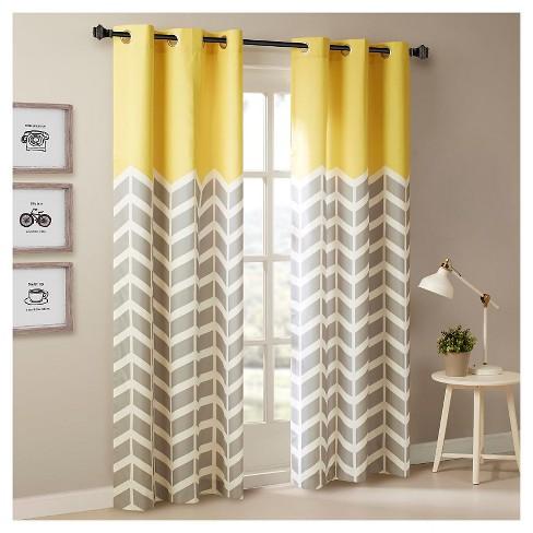Elaine Chevron Printed Grommet Top Curtain Panel Pair : Targ