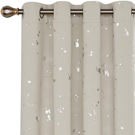 Amazon.com: Deconovo Silver Dots Printed Blackout Curtains Grommet .