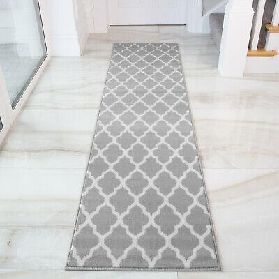 Long Narrow Hallway Runner Classic Grey Trellis Geometric Print .