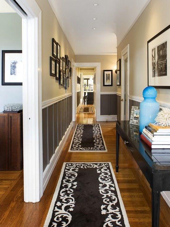 Hallway idea- I like those rugs. We have two very long hallways .
