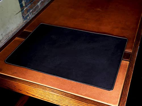 Amazon.com: Black Leather Desk Pad Custom Desktop Mat in Horween .