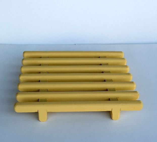 Yellow Handcrafted Pine Trivet , Hot Pad , Table Protector | Hot .