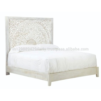 Rustic Wooden Carved Headboard Double Bed - Buy High .