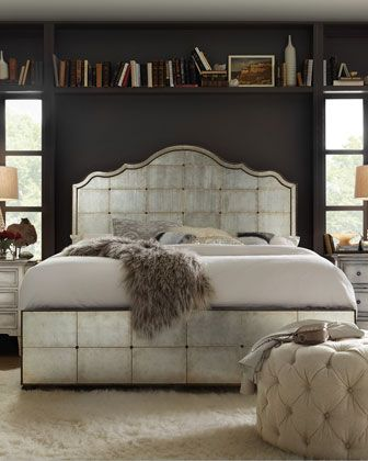 Visage Eglomise Mirrored Panel Bed California King | Mirrored .