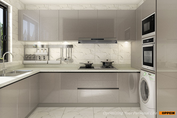 OPPEIN modern design high end kitchen cabinets with clean handle .