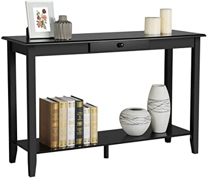 Amazon.com: Yaheetech Wood Console Table with Drawer and Shelf 2 .