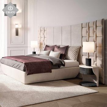 High Quality Bedroom Furniture Luxury High Headboard Beige Fabric .
