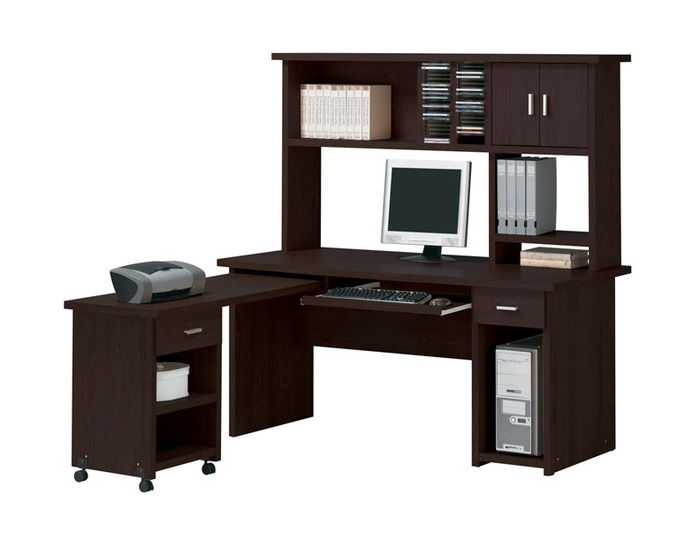 Linda 3 Piece Computer Desk with Hutch Home Office Set in .