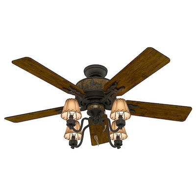 Hunter Adirondack 52-in Antique Bronze Indoor Ceiling Fan with .