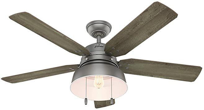 Hunter Indoor / Outdoor Ceiling Fan with light and pull chain .