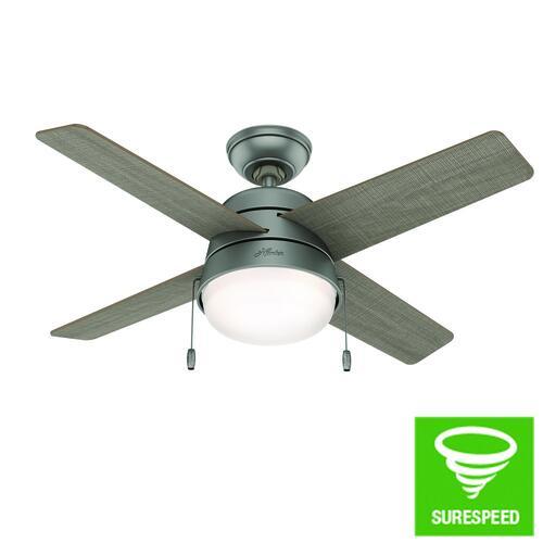 "Hunter® Riverstone 42"" LED Matte Silver Indoor/Outdoor Ceiling Fan ."