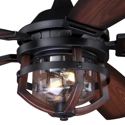 "Patriot Lighting® Dalebrooke 54"" Black & Replica Wood LED Indoor ."