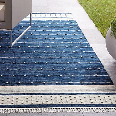 Inavi Indoor/Outdoor Blue Fringe Rug | Crate and Barr