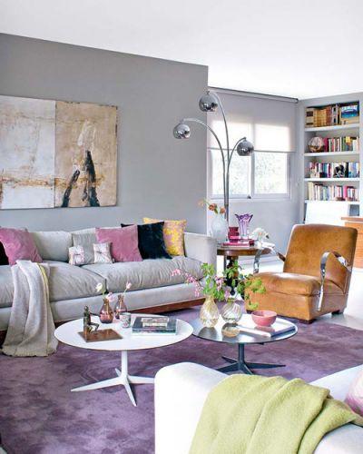 Interior Decor With Purple Rugs