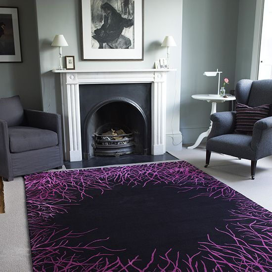 Homes & Gardens magazine   Purple living room, Rugs in living room .