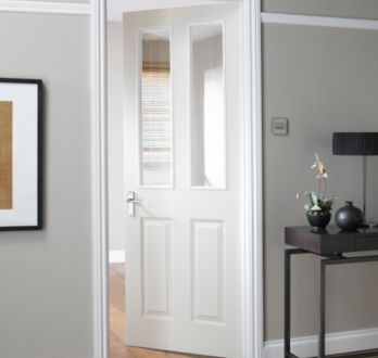 B&Q - 4 Panel White Smooth Internal Glazed Door, could match our .