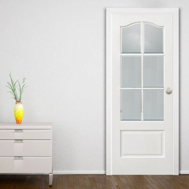 White glass panel interior doors with arched top panel style .