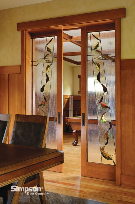 Decorative Glass Interior French Doors | Shown in Douglas Fir .
