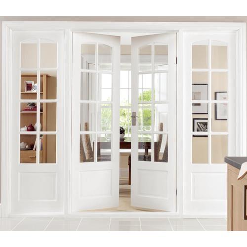 Doors through to kitchen - 8 panel interior glass White French .