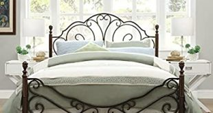 Amazon.com: LeAnn Graceful Scroll Bronze Iron Bed Frame (Queen .