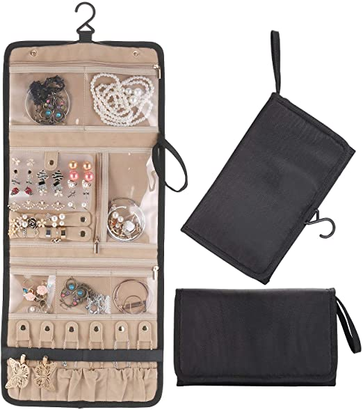 Amazon.com: Lenlorry Travel Jewelry Organizer Roll Bag Case .