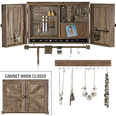 Amazon.com: Rustic Wall Mounted Jewelry Organizer with Wooden .