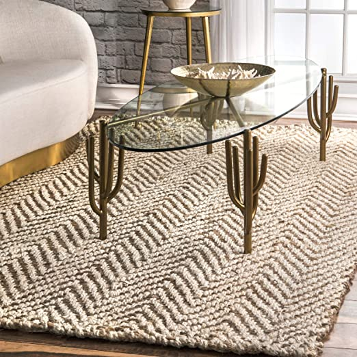 Amazon.com: nuLOOM Vania Chevron Jute Rug, 6' x 9', Off White .