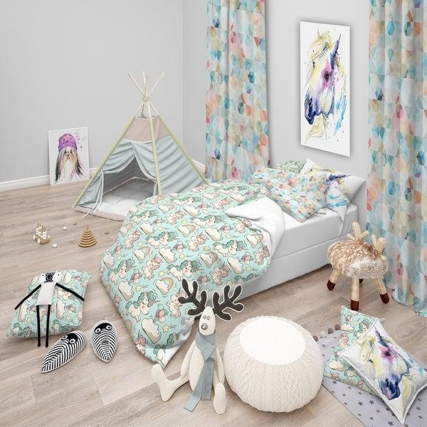 Shop Designart 'Pattern with Cute Unicorns and Clouds' Modern kids .