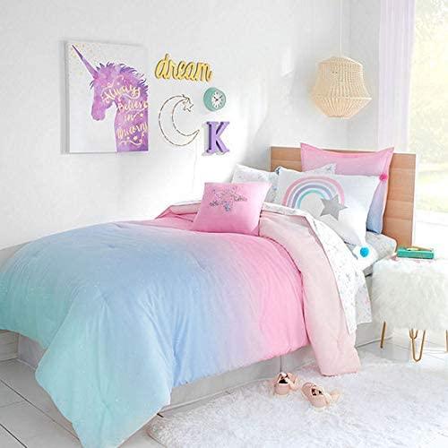 Amazon.com: Kids Bedding Rainbows & Unicorns Ombre Stardust Girls .