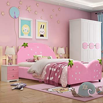 Amazon.com: Costzon Toddler Bed, Twin Size Upholstered Platform .