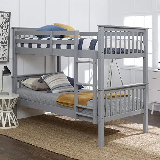 Amazon.com: Walker Edison Furniture Company Wood Twin Bunk Kids .