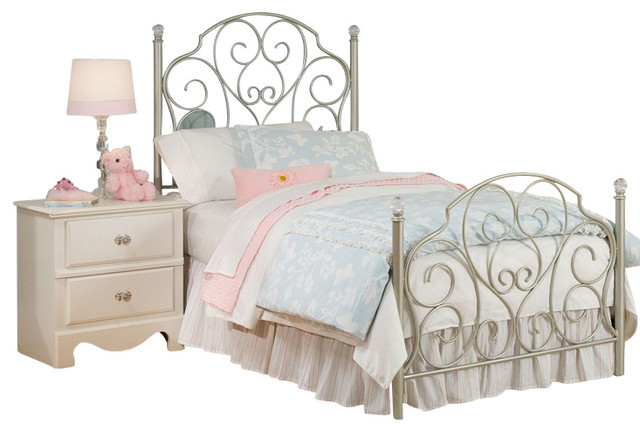 Standard Furniture Spring Rose Metal Kids Bed in White .