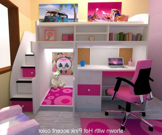 Loft Bed With Stairs And Desk | Bed for girls room, Girls loft bed .
