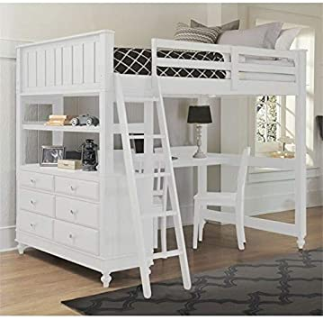 Amazon.com: Pemberly Row Full Kids Wood Loft Bunk Bed with Desk .