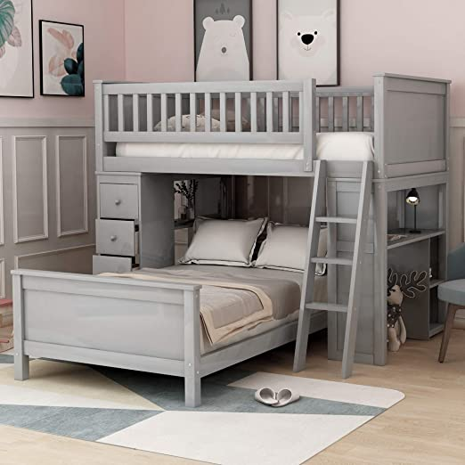 Amazon.com: Twin-Over-Twin Bunk Bed for Kids, Loft System & Twin .